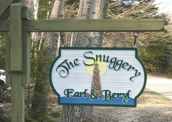 """L21428 - Lake Michigan Coast Carved Residence Sign """"The Snuggery""""  with Lighthouse"""