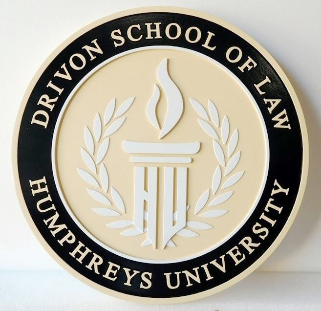 RP-1860 - Carved Wall Plaque of  the Seal of Drivon School of Law,  Humphreys University, Artist Painted