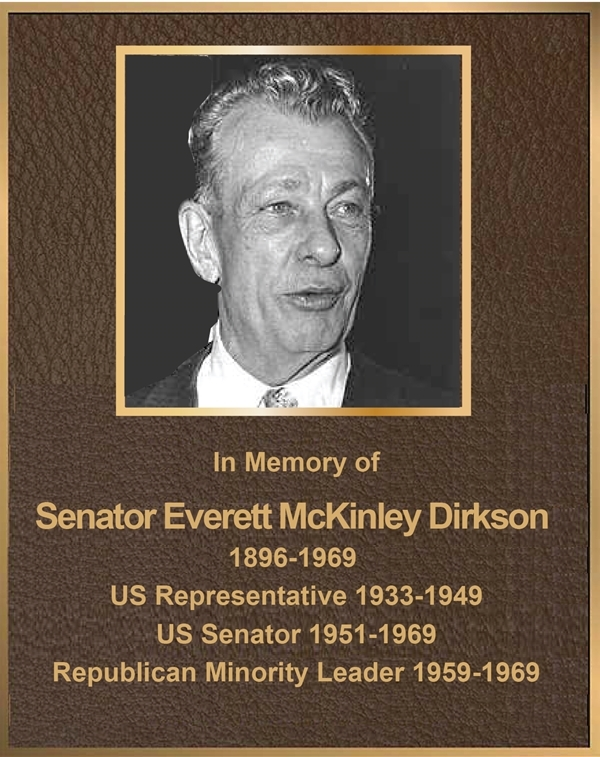 MB2392- Brass-Plated Plaque with Giclee Photo of Senator Everett Dirkson, Sandsblasted Painted Bronze Background, 2.5-D
