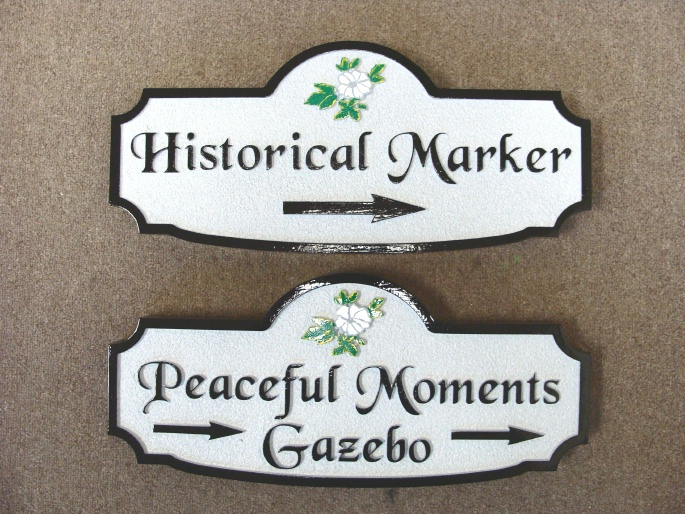 G16361 - Carved HDU Directional Sign for Historical Monuments and Peaceful Moments Gazebo