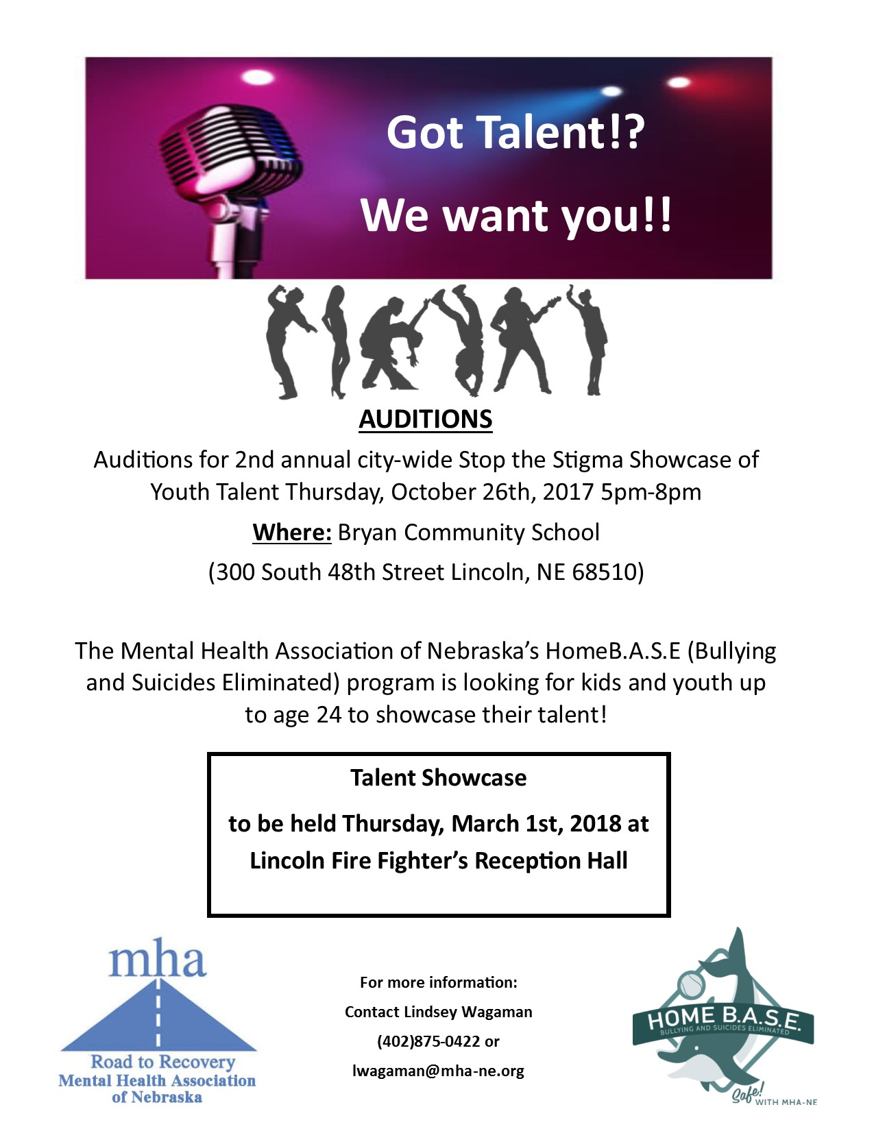 2nd AUDITIONS for Youth Talent Showcase: Oct. 26th