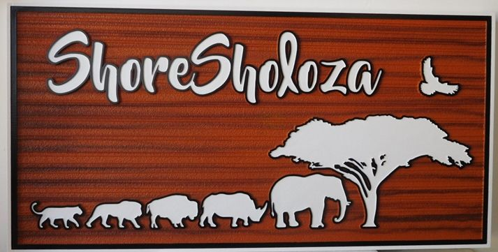 """O24644- Carved Entrance Sign for """"Shore Soloza"""", 2.5-D Raised Outline Relief, with African Animals (Elephant, Giraffe, Lion and Rhino, etc)  as Artwork"""