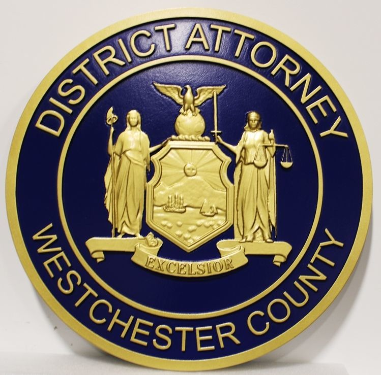 PP-3230 - Carved 3-D HDU Plaque of the Sealof the District Attorney, Westchester County, New York