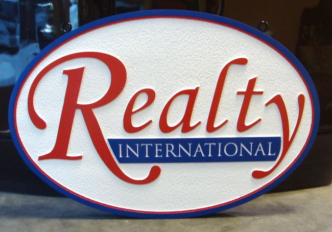 VP-1240 - Carved Wall Plaque of the Logo of Realty, International, Artist Painted