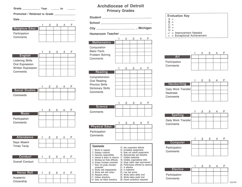 Report Card (Primary Grades)