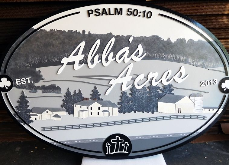 """O24817 - Carved Sign for  the """"Abba's Acres"""" Farm with Scene of Farmhouse, Barn, Fence, Pasture  and Tree"""