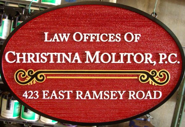 A10023 – Sandblasted HDU Oval Law Office Hanging Sign, with a Carved Flourish