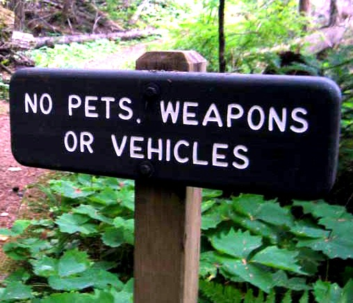 "G16125 - Trail Sign ""No Pets, Weapons or Vehicles"""