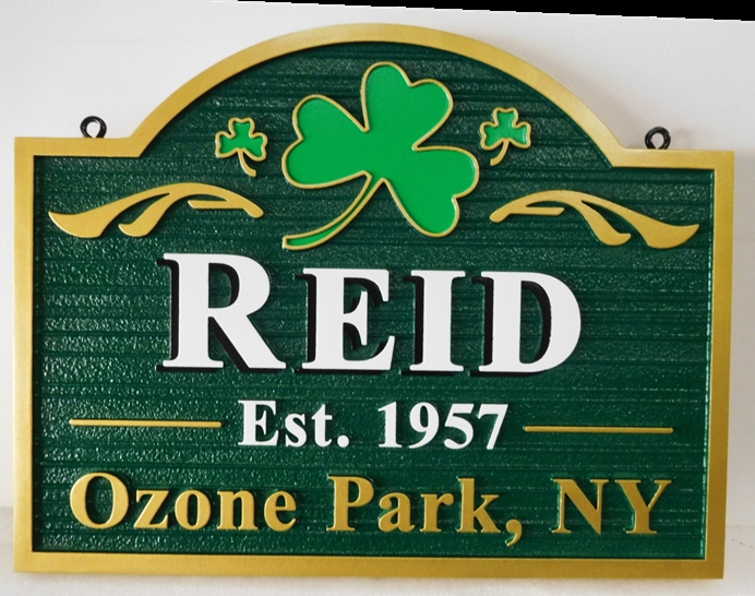 "I18411-  Irish Address Sign for ""Reid"" Family, with a  2.5-D Carved Shamrock"