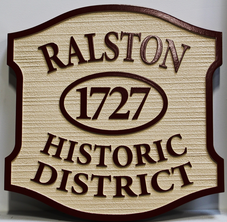 F15915 - Carved and Sandblasted Wood Grain Sign for the Ralston Historical District