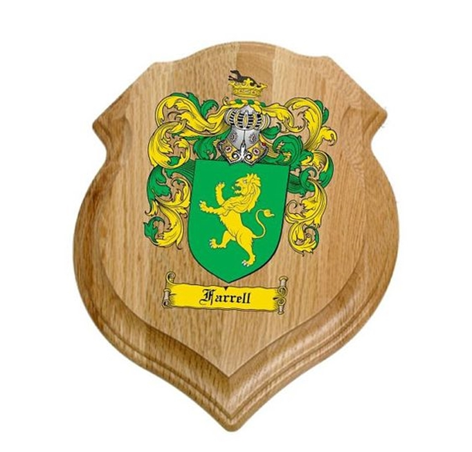 XP-2240 - Carved Shield Wall Plaque of Family Coat-of-Arms / Crest, Artist Painted  on Oak Wood