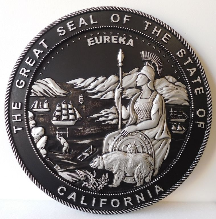 M7463 - MetallicSilverand Black Painted carved 3D HDU plaque features the GreatSealof the State of California