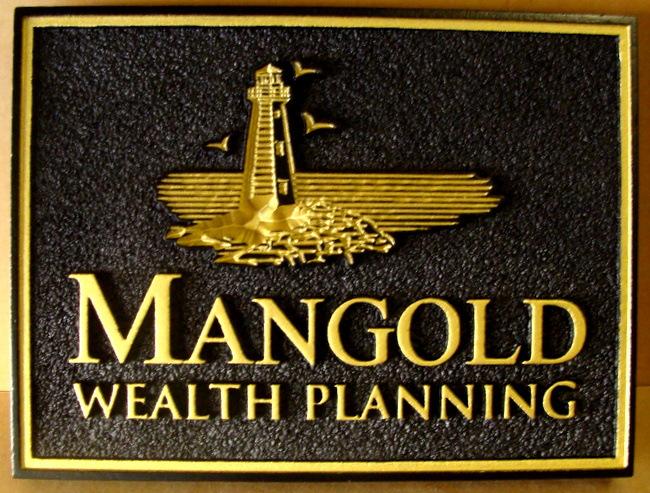 SM16 - Carved &  Gold-leaf Gilded Wealth Planning Entrance Sign (Gallery 12)