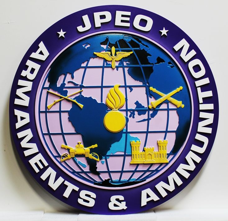 IP-1870 - Carved Plaque of the Seal of the Joint Program Executive Office (JPEO), Armaments & Munitions, 3-D Artist-Painted