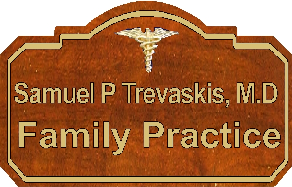 B11052 - Engraved Wood Plaque for Family Practice Medical Office with Name of Physician and Engraved Caduceus
