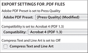 Create a PDF with these settings