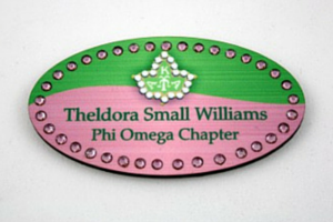 Pink and Green Two Tone Oval