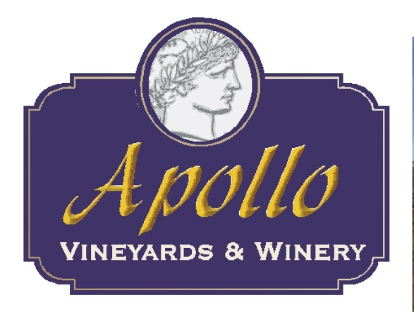 R27078 - Large Entrance Wood Sign for the Apollo Winery and Vineyards