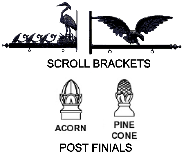 M22999B - Scroll Brackets and Finials  for a Lake or Mountain Vacation Home Sign