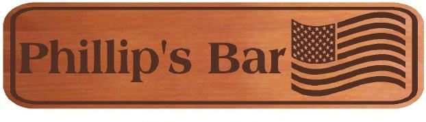 RB27165 - Carved Cedar Home Bar Sign with US Flag