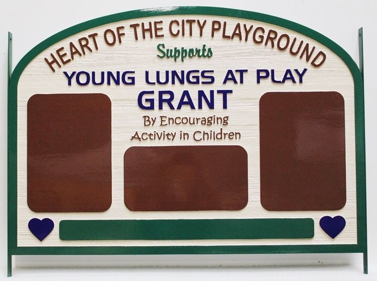 GA16551 - Carved  2.5-D Sign for the Heart of the City Playground, made of Western Red Cedar