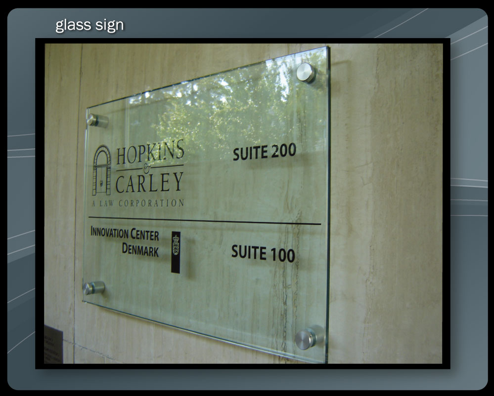 GLASS ENTRY SIGN