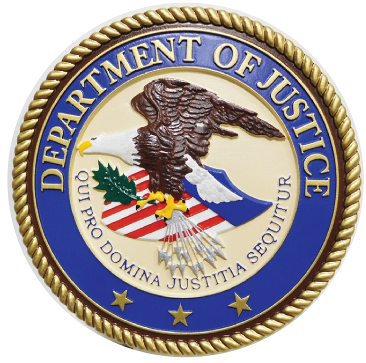 AP-2320 - Carved Plaque of the Seal of the US Department of Justice, Artist Painted