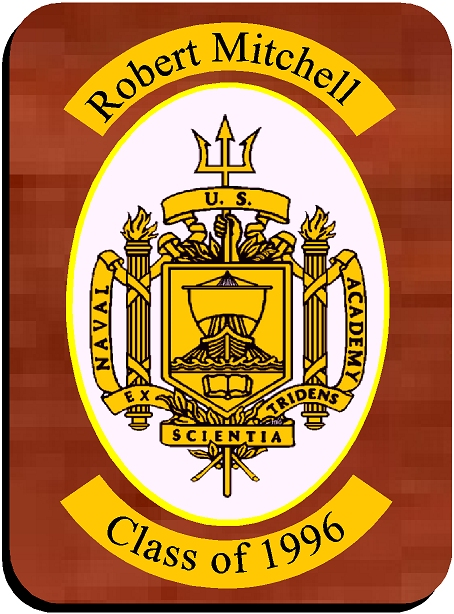 Y34348 - Personalized Carved Wall Plaque of the Seal of the US Naval Academy