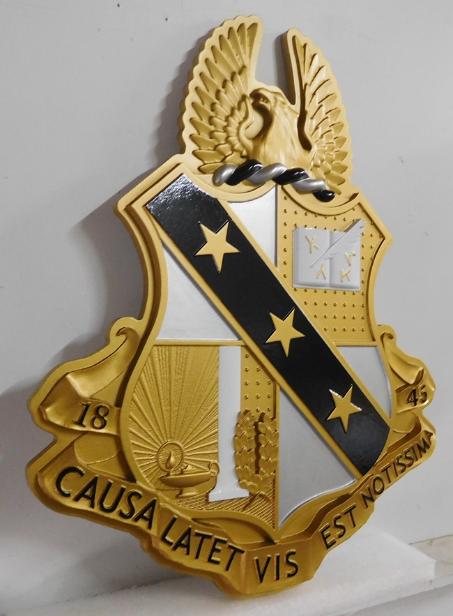 SP-1020 - Carved Wall Plaque for Crest of College Fraternity, Artist Painted in Metallic Gold and Silver