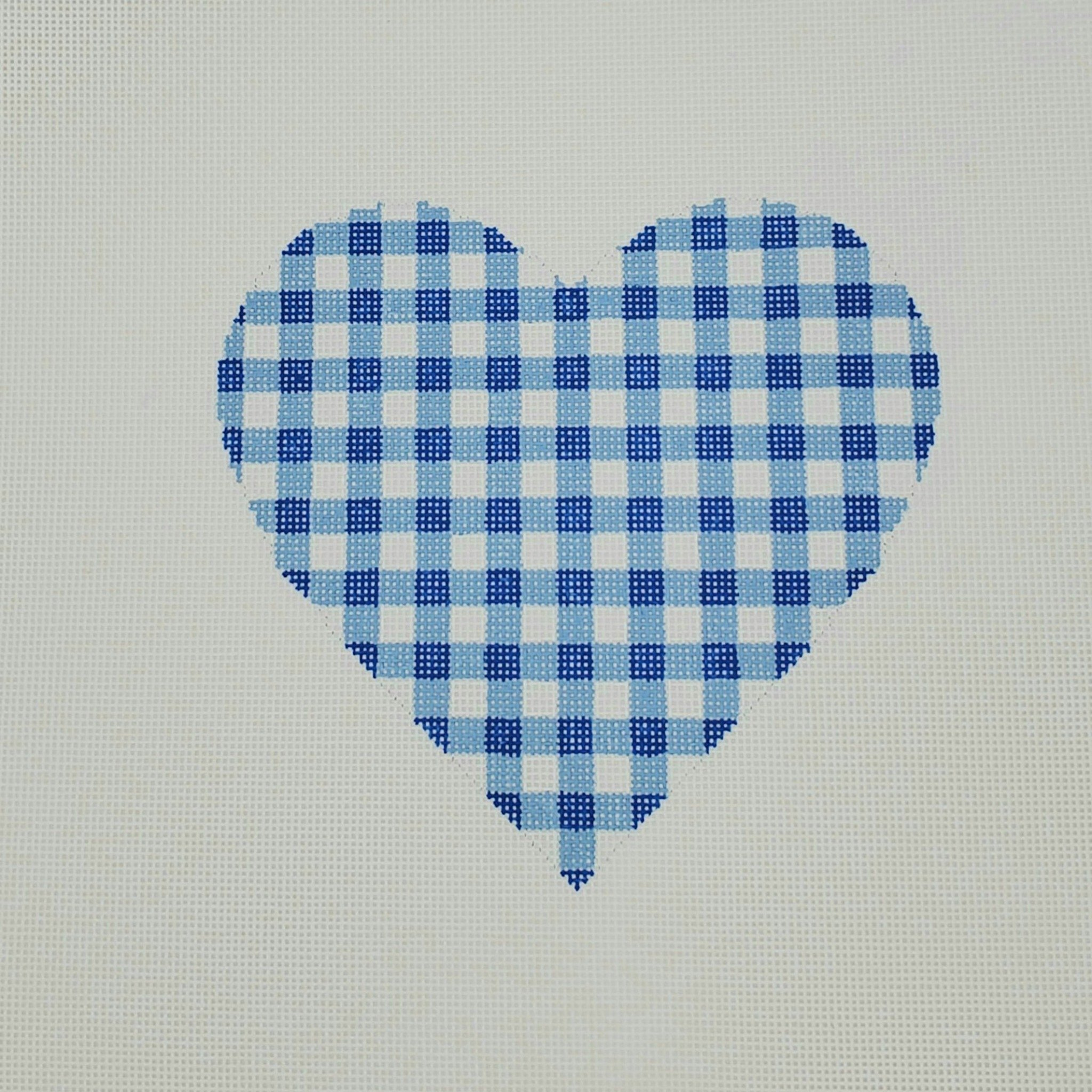 Gingham Heart Large, Blue