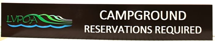 G13341 - Carved Cedar Wood Campground Reservation Sign, with Logo of Stylized Mountains and Water