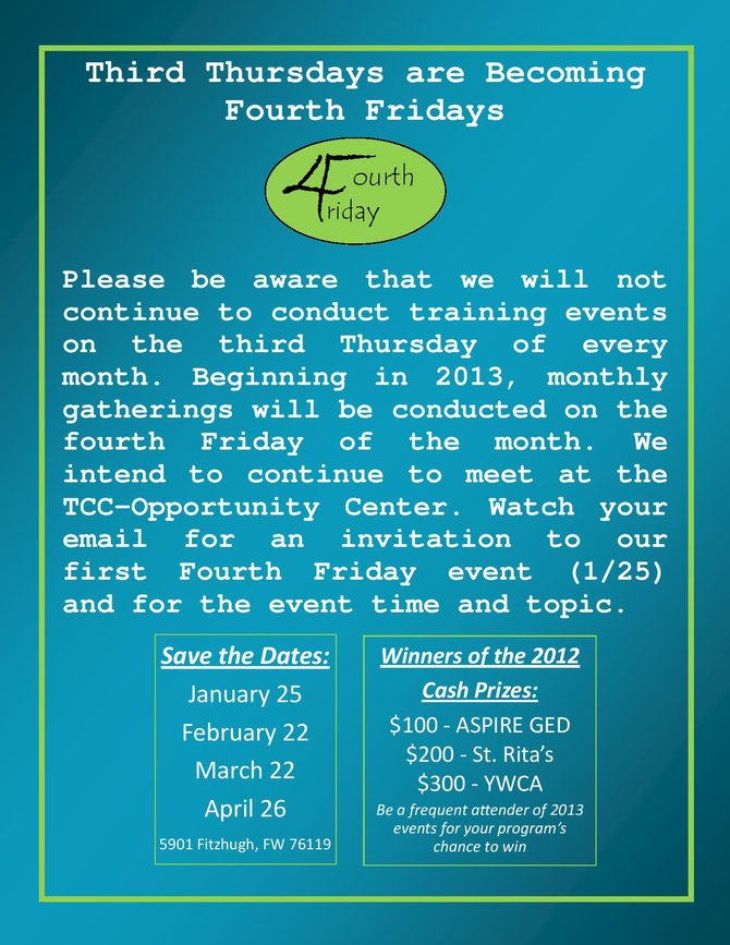Third Thursdays are Becoming Fourth Fridays