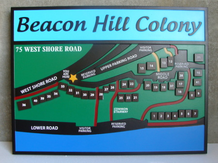 KA20797 - Carved 2.5-D  Map of Residential Community, Beacon Hill Colony