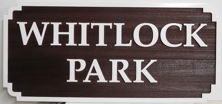 GA16470 - Carved Wood Grain Texture, HDU Sign for a Town Park