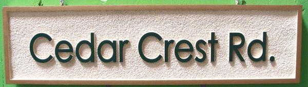 H17071 -  Carved and Sandblasted HDU Road  Name Sign, Cedar Crest Road