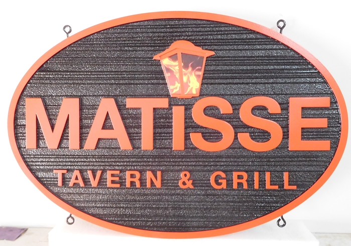 "RB27688 - Custom Carved and Sandblasted Wood Grain  ""Matisse Tavern and Grill"" Sign, with Lantern as Artwork"
