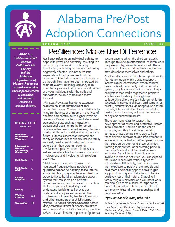 APAC Newsletter Spring 2013