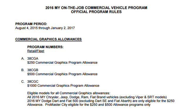 Chrysler on the job vehicle graphics incentives in Bend Oregon