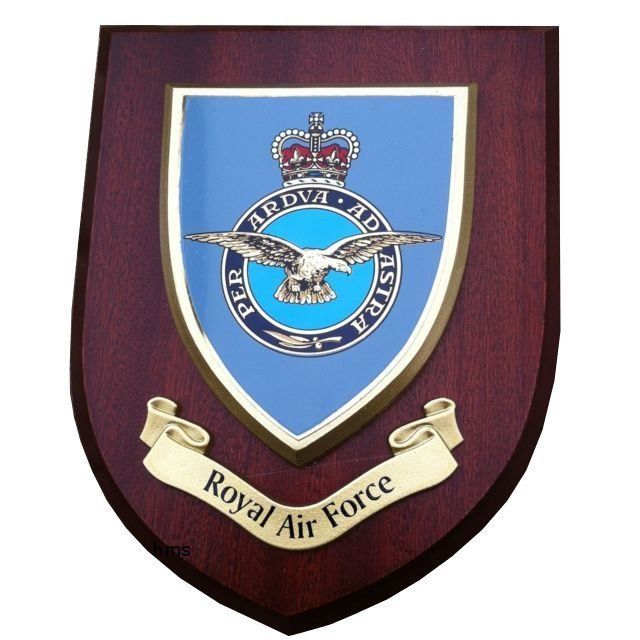 OP-1200- Carved Shield Plaque, UK Royal Air Force, Artist Painted Wood