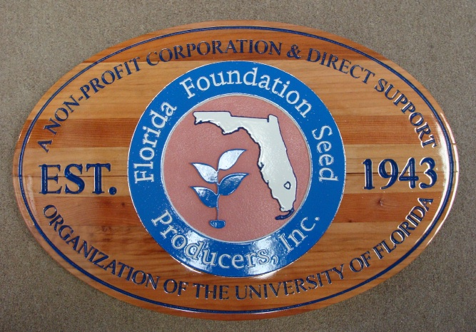 """SA28776 - Engraved Stained Cedar Wood Plaque for  """" Florida Foundation Seed Produce, Inc."""""""