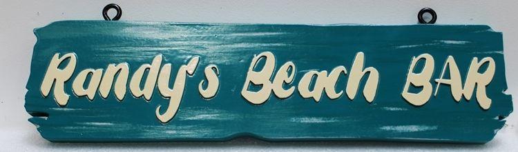 RB27214 - Carved and Sandblasted Cedar Wood Sign  for Randy's Beach Bar