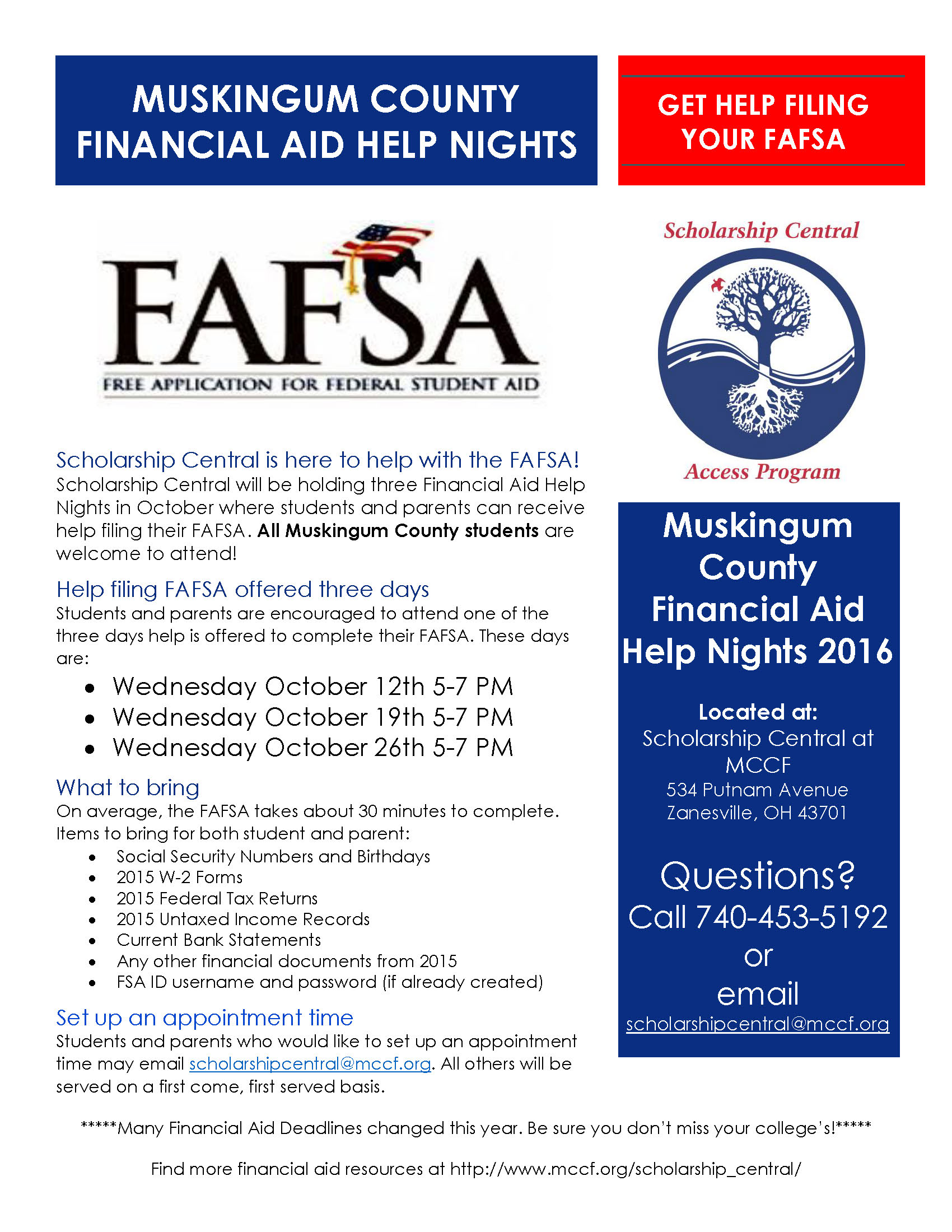 FAFSA Help Nights - Scholarship Central