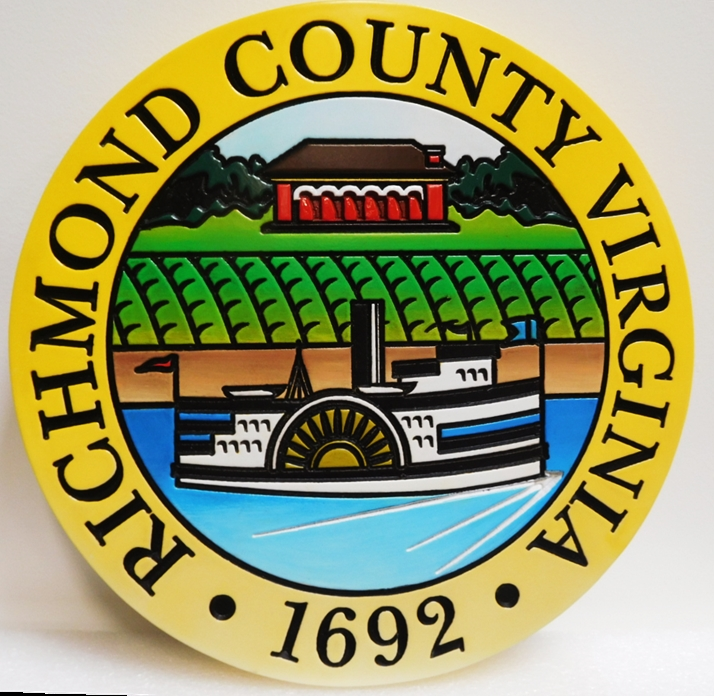 CP-1499- Carved Plaque of the Seal of Richmond County, Virginia, Artist Painted
