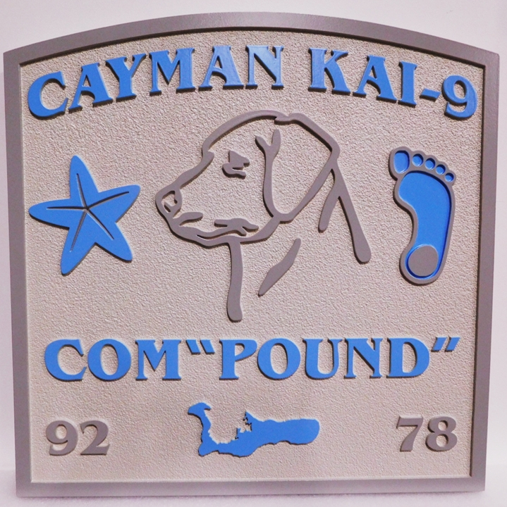 "L21098 - Carved and Sandblasted ""Cayman Kai-9 Com-""Pound"""" Beach-house Sign, with  Footprints, Dog's Head, and Starfish"