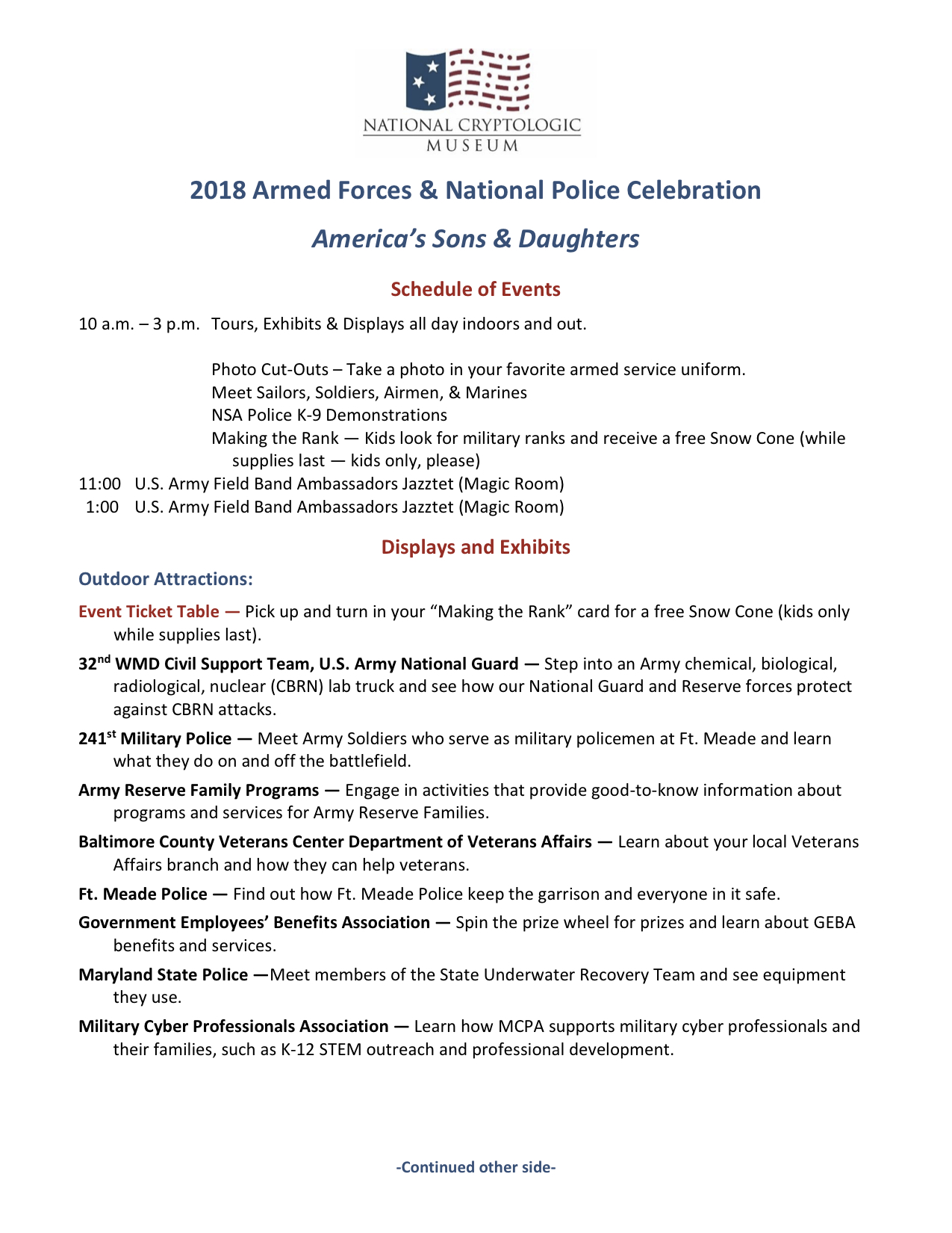 Schedule of Events & Activities