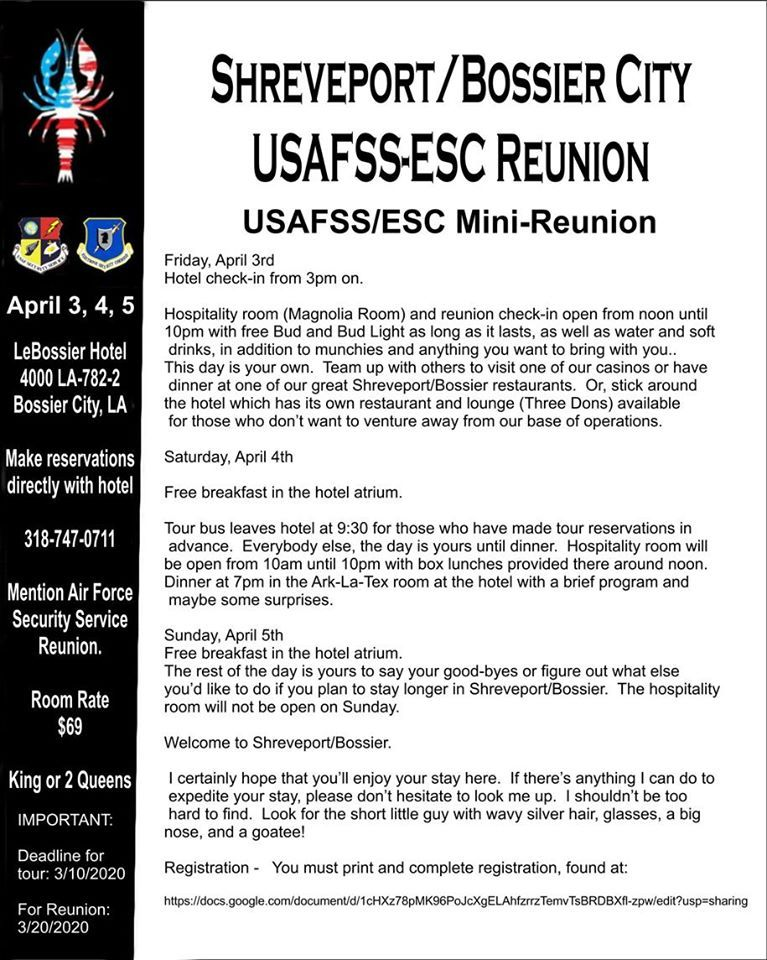 Shreveport/Bossier City USAFSS/ESC Reunion