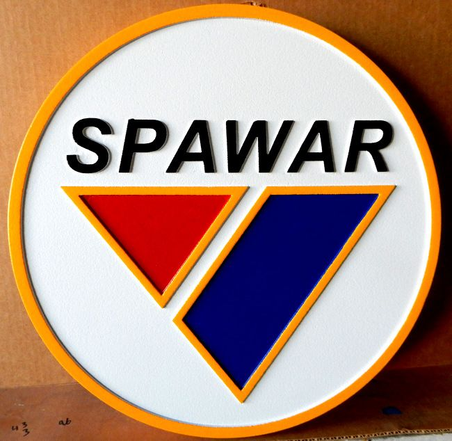 JP-2380 - Carved Plaque of the Seal of the Space and Naval Warfare Command (SPAWAR), Artist  Painted