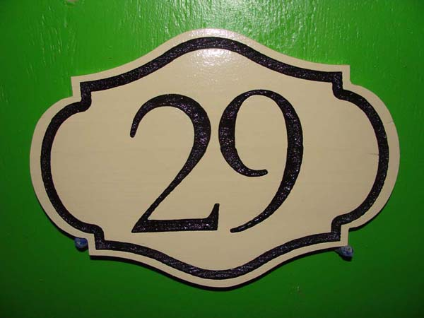 T29199 - Engraved  Ornate High-Density-urethane (HDU)  Room Number Plaque