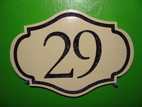 T29199 - Engraved  Ornate High-Density-urethane (HDU)  Room Number Plaque