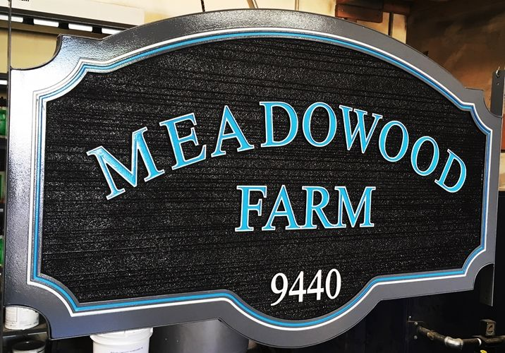 "O24053 - Carved HDU Entrance Address Sign for  ""Meadowood Farm"""